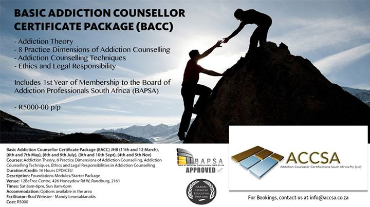 Basic Addiction Counsellor Certificate Package in Johannesburg at ...
