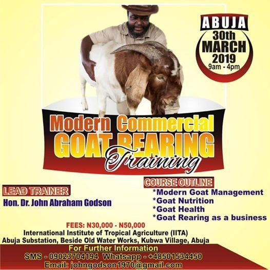 Modern Commercial Goat Rearing Training- ABUJA