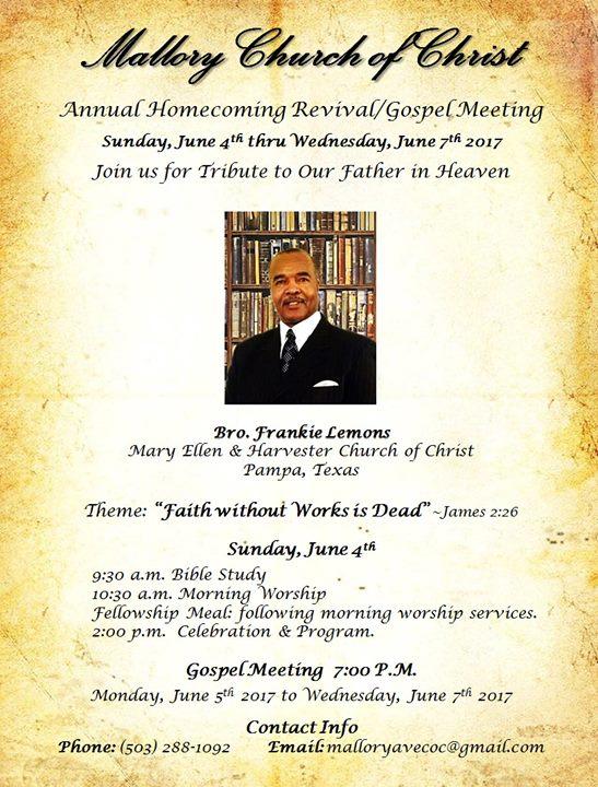 annual homecoming revival  gospel meeting at mallory church