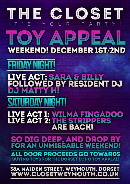Toy Appeal Night With Wilma Fingadoo And Male Performers At The