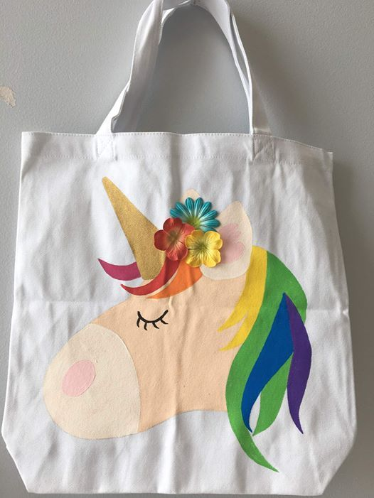 Unicorn Tote Bag Painting with Silk Flowers