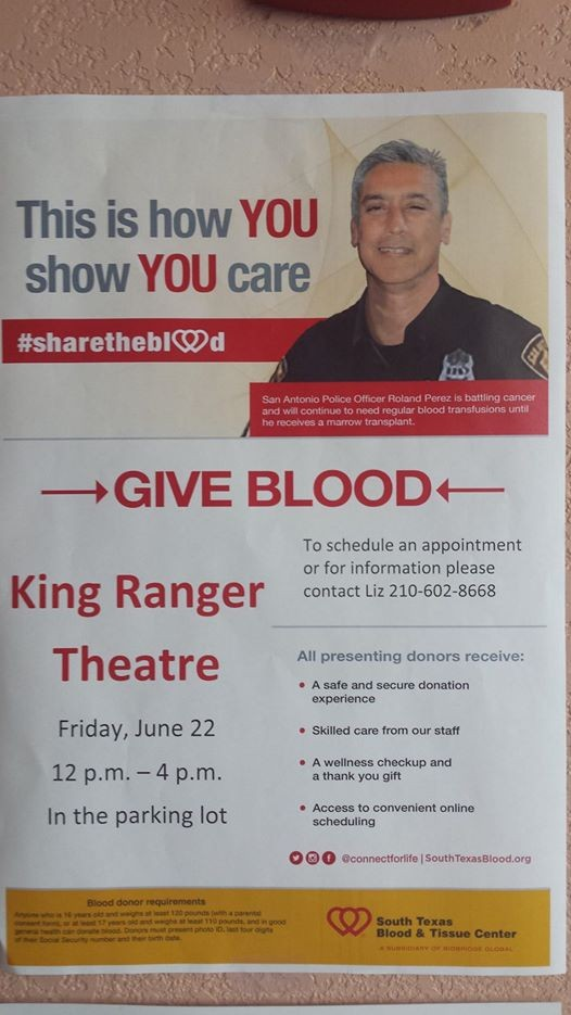 King Ranger Theater >> Blood Drive South Texas Blood Tissue Center At King