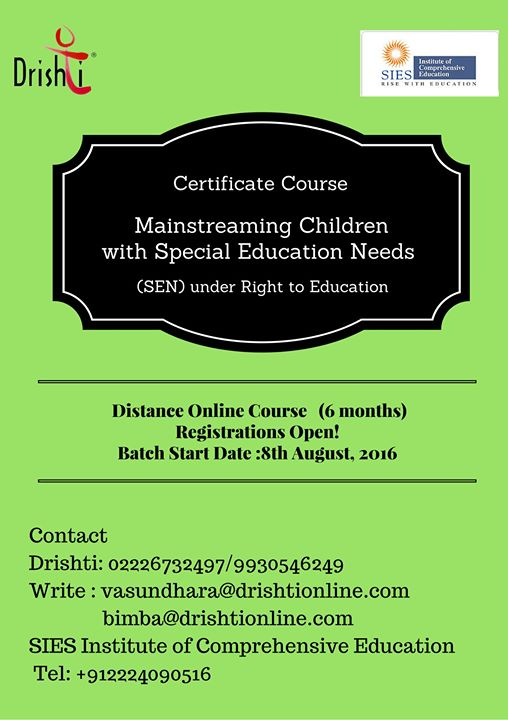 Online Course Mainstreaming Children With Special Education Needs