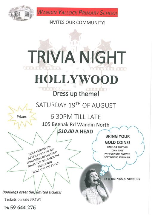Hollywood Trivia Night at Wandin Yallock Primary School