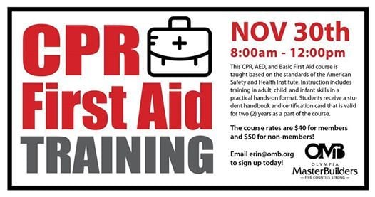 Cpr First Aid Training At Olympia Master Builders Washington