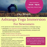 One Month Ashtanga Yoga Immersion for Newcomers