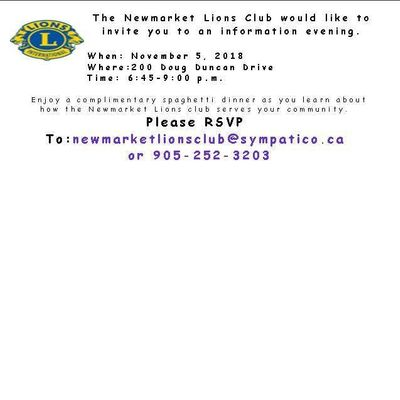 Newmarket Lions Club Information Night 200 Doug Duncan Dr