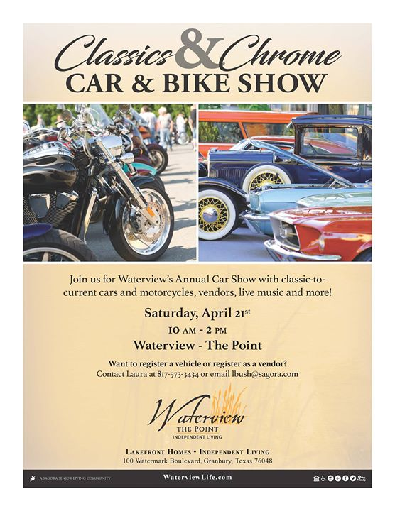 Classics Chrome Car And Bike Show At Waterview Senior Living Granbury - Granbury car show