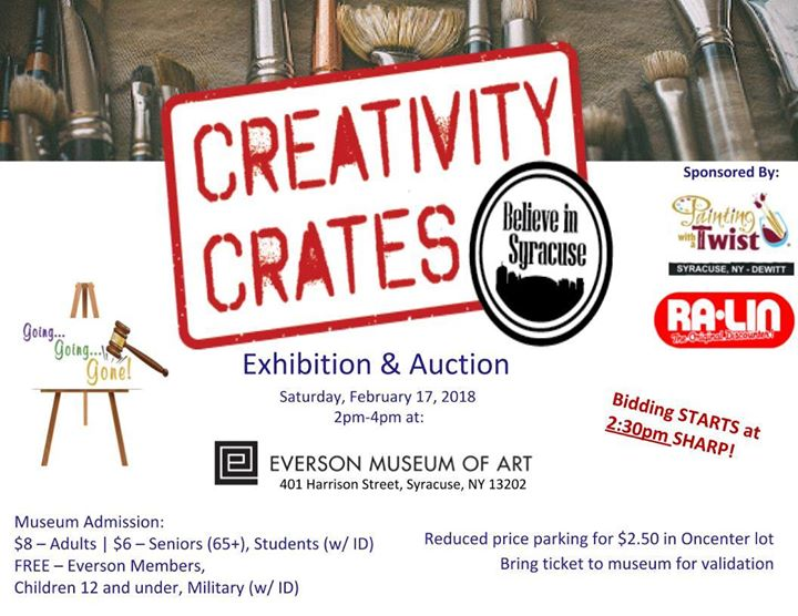 Creativity Crates Exhibition & Auction at Everson Museum of