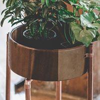 FARGO  Copper &amp Wood Plant Stand