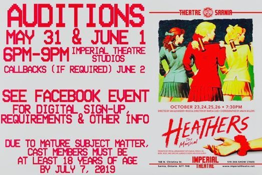 Heathers The Musical Audition - Theatre Sarnia | Sarnia