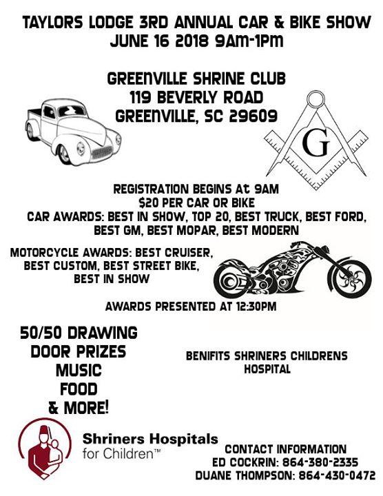 Taylors Masonic Lodge Rd Annual Car Bike Show At Greenville - Car show greenville sc