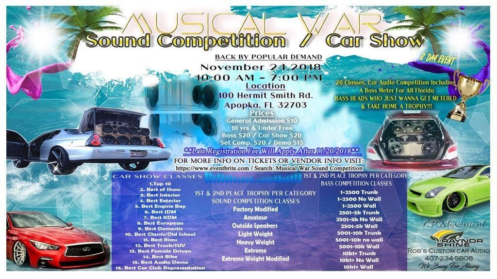 Musical War Sound Competition Car Show Nov Th At Hermit - Car show events sarasota