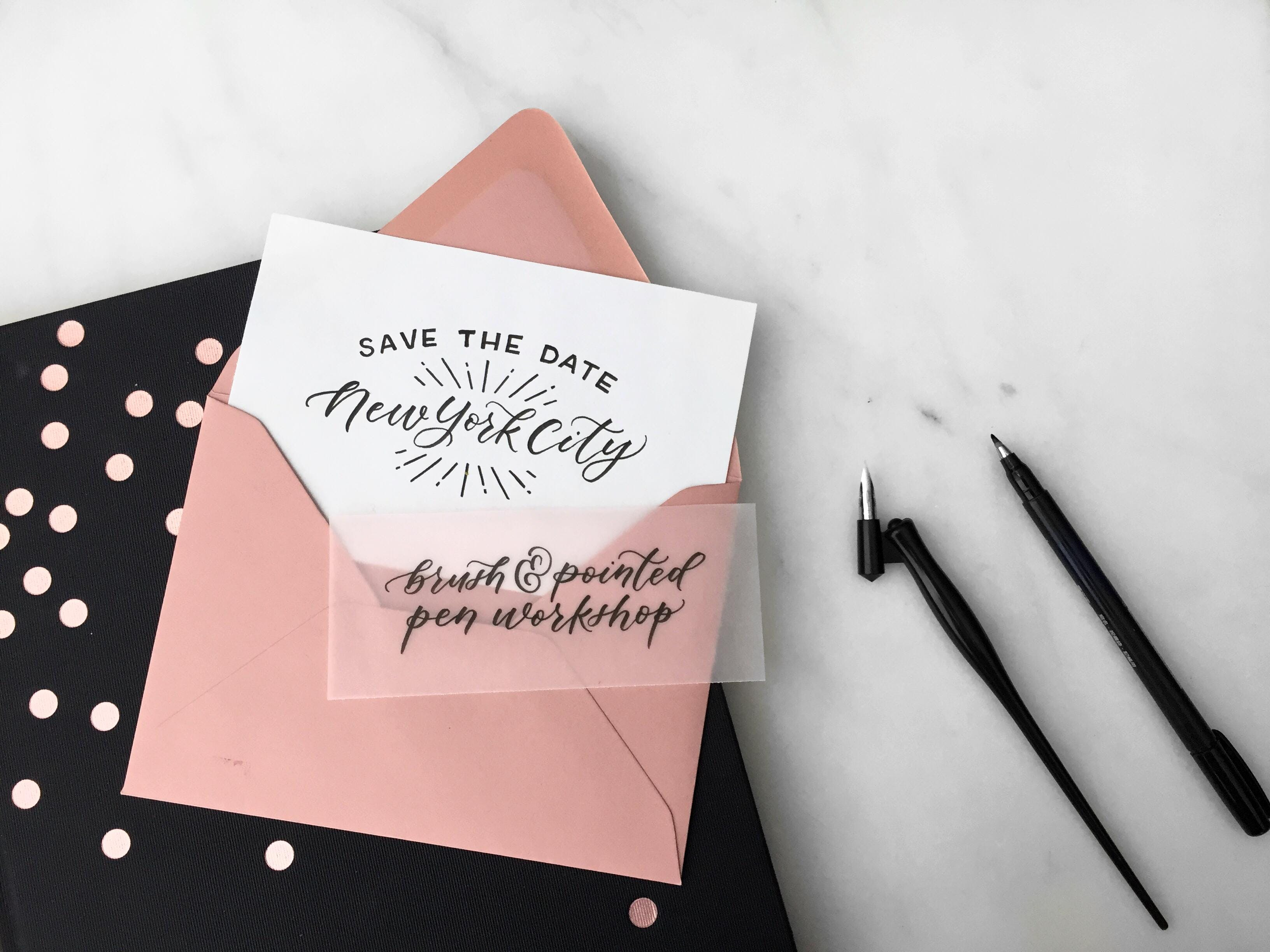 Intro to modern calligraphy brush and pointed pen workshop new