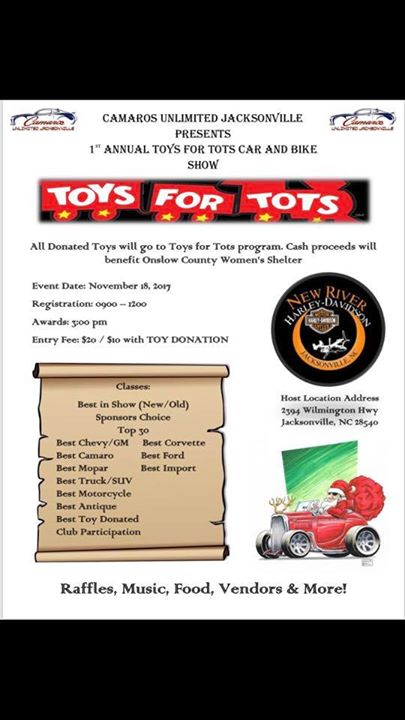 Camaros Unlimited Jacksonville St Annual Toys For Tots Car And Bike - Car show jacksonville nc