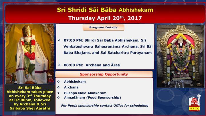 Sri Shridi Sai Baba Abhishekam at Hindu Temple and Cultural