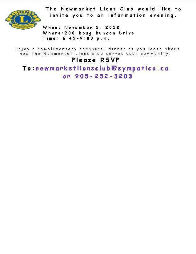 Newmarket Lions Club Information Night