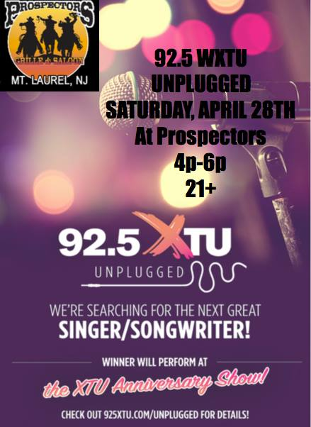 925 XTU Unplugged At Prospectors On 4 28 4PM 6PM