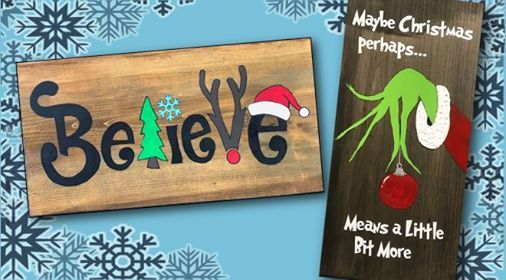Christmas Wood Signs.Christmas Wood Signs 4 Seats Left At Paint A Treasure Art