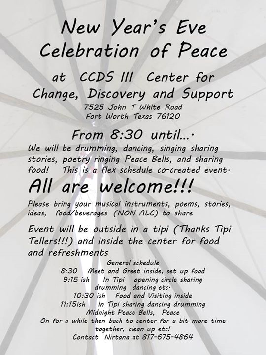 New Years Eve Celebration of Peace at CCDS Center for Change, Fort Worth