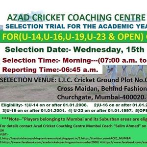 ACCC Mumbai Selection Trial for the Academic Year 2019-2020