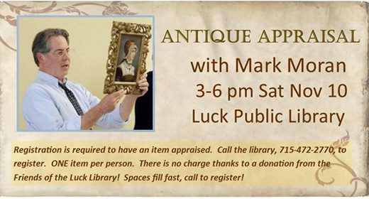 Antique Appraisal with Mark Moran at Luck Public Library, Luck