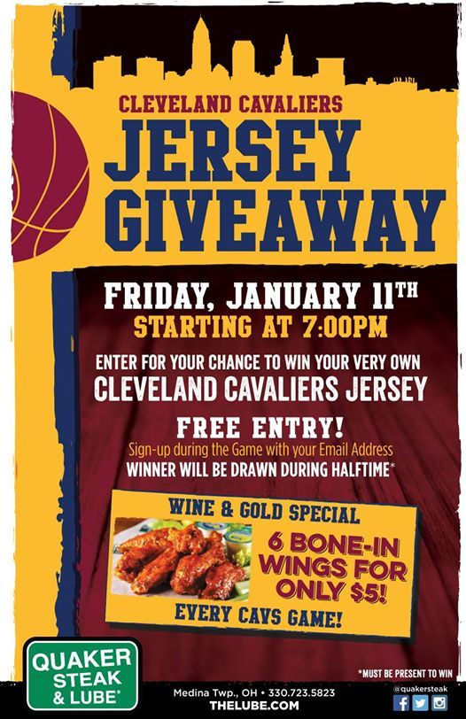 Custom Cavs Jersey Give-A-Way at Quaker Steak and Lube Medina ... 1d994879b