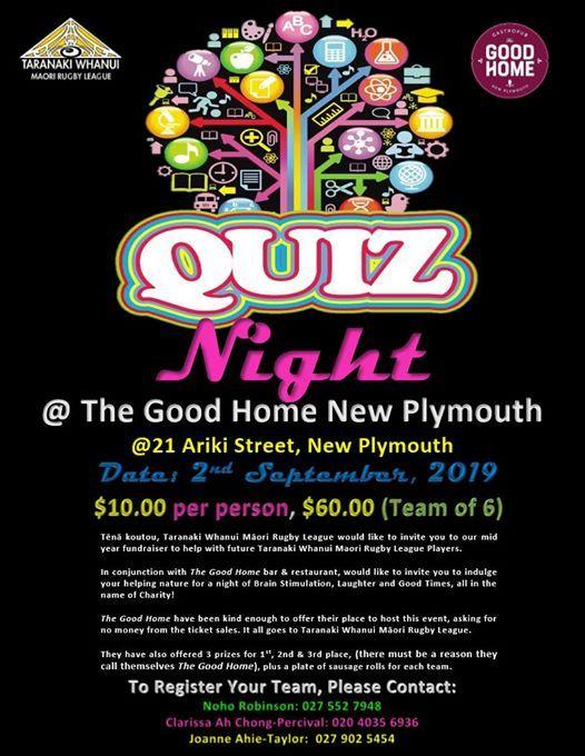 Quiz Night Fundraiser For Taranaki Whanui Maori Rugby League At The