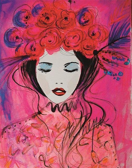 ArtNight Roze bloemenmeisje op 20022019 in Den Haag
