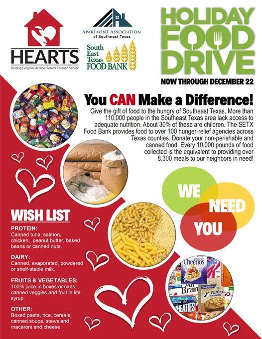 SETX Food Bank Holiday Food Drive at Apartment Association