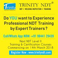 NDT Training Level II March 2018 at Trinity NDT Bengaluru India