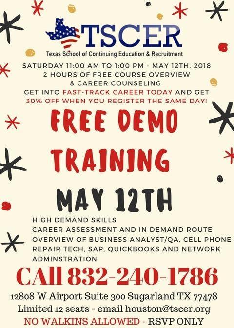 Free Demo Training at Texas School of Continuing Education - Houston
