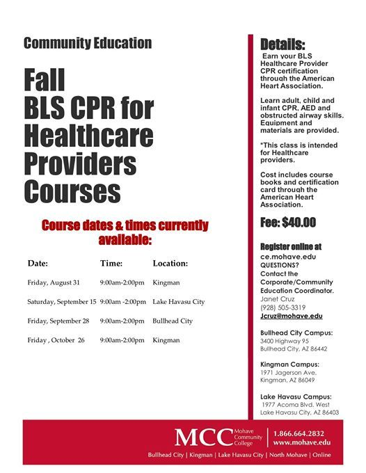 Fall Cpr For Healthcare Providers Course At Mohave Community College