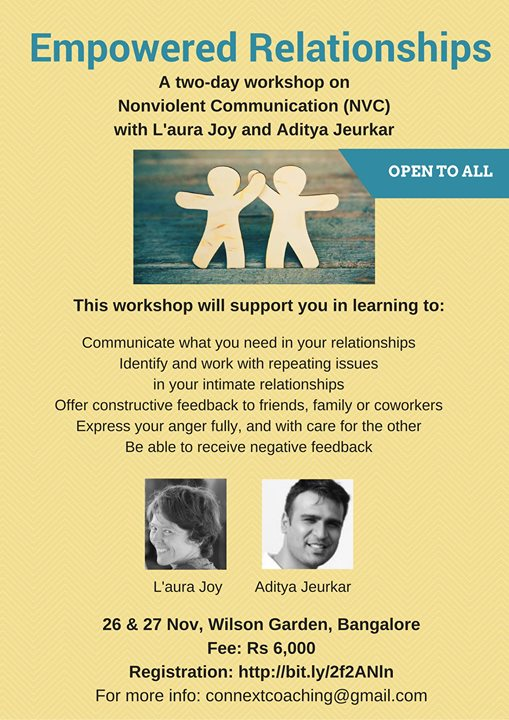 Empowered Relationships: A 2-day NVC workshop at Bangalore, India