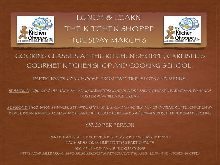 Lunch and Learn Cooking Class (March Luncheon) at The Kitchen Shoppe ...