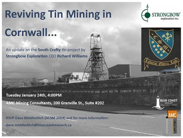Vancouver Presentation Tin Mining In Cornwall And Sundowner At AMC Consultants 200 Granville Street Suite 202 BC V6C 1S4 Canada