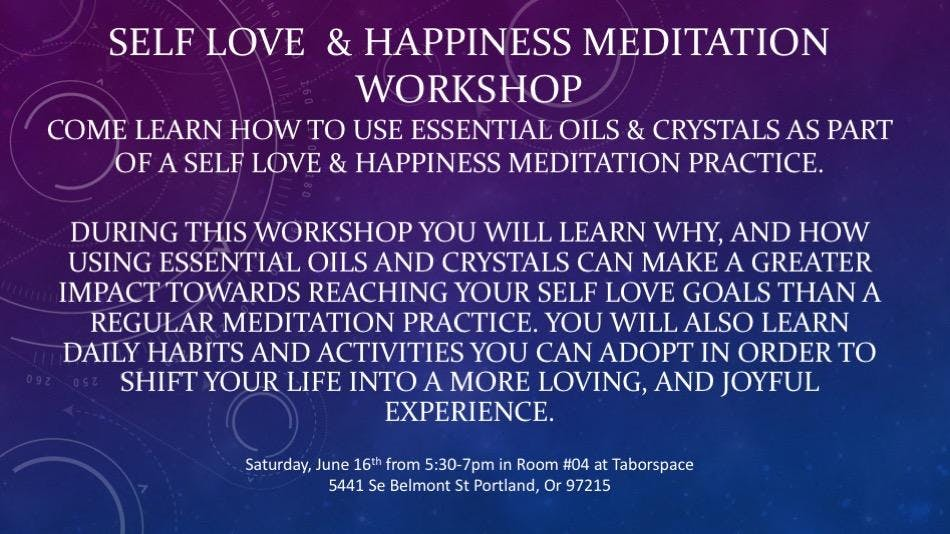 Self Love & Happiness Meditation Workshop at TaborSpace Room