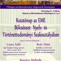 Kutatnap az EME Blcsszet- Nyelv- s Trtnettudomnyi Szakosztlyban