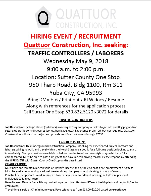 Quattuor Construction Inc Hiring Fair at 950 Tharp Rd, Yuba City