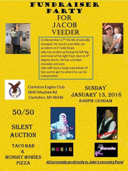 Recovery Fundraiser For Jakes Sake at Clarkston Eagles 33735640