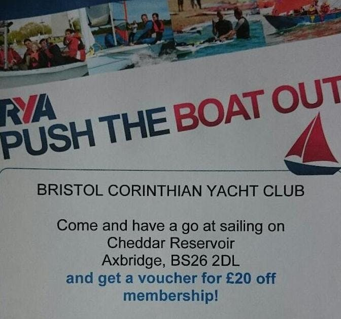 RYA Push the Boat Out - Have a go at sailing and stand up paddleboarding on Cheddar Reservoir