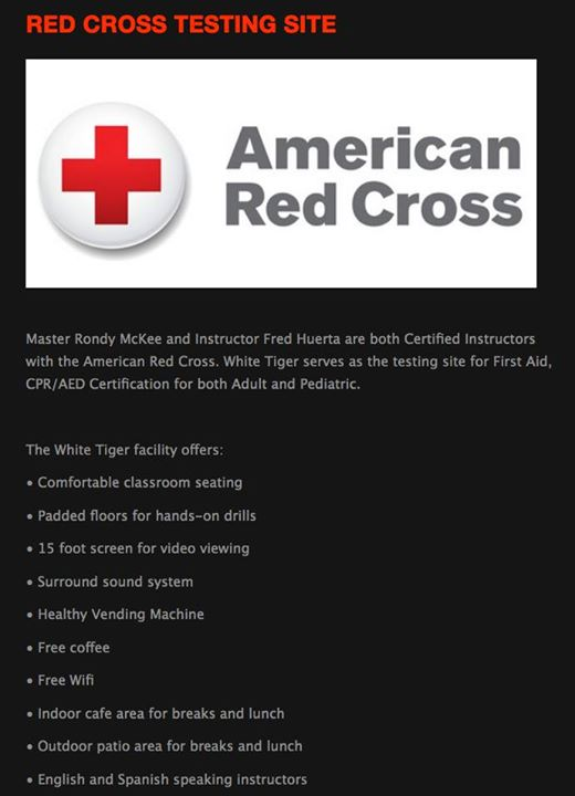 American Red Cross Cprfirst Aidaed Certification At White Tiger