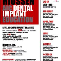 List of 2017 AIC Dental Implant Courses Sponsored by Hiossen