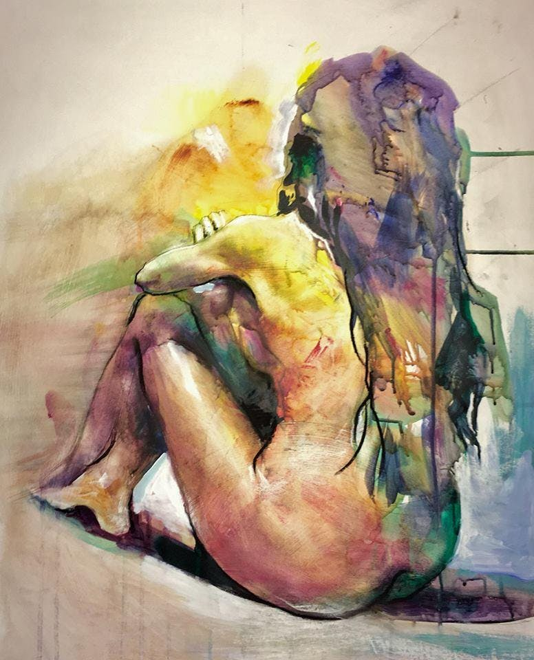 Figure drawing in charcoal and acrylic  Anthony Barrow