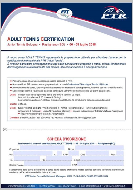 Adult Tennis Certification Ptr Fit At Junior Club Rastignano