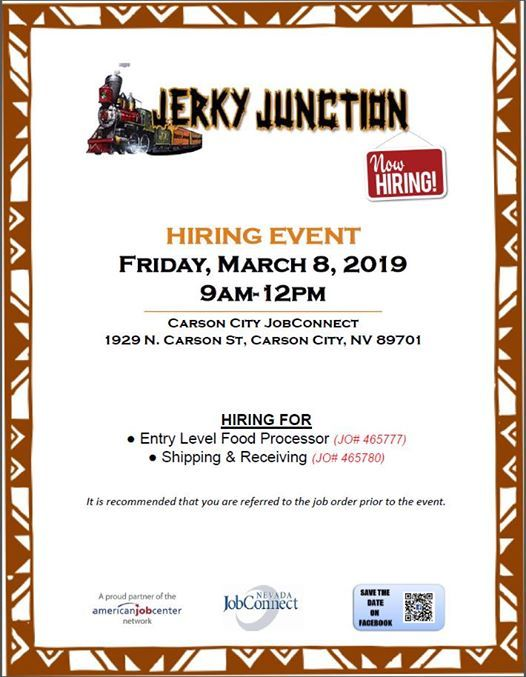 Hiring Event Jerky Junction At 1929 N Carson St Carson City Nv