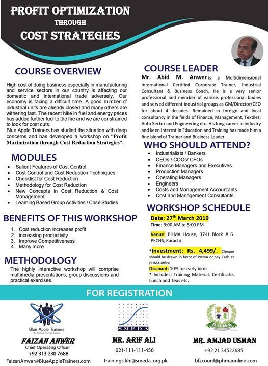 Training Workshop on Profit Optimization through Cost Strategies