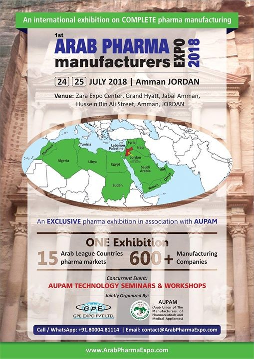 Arab Pharma Manufacturers EXPO 2018 free registration till