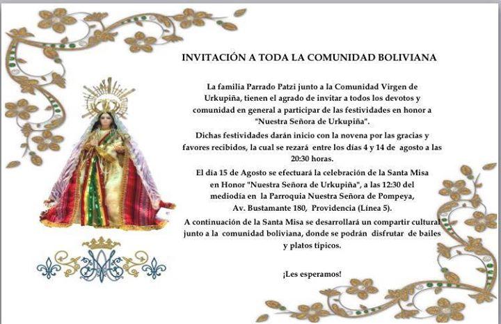 Festividad Virgen De Urkupia Santiago At Parroquia