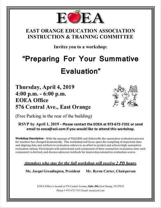 East Orange Focus >> Workshop Preparing For Your Summative Evaluation At East